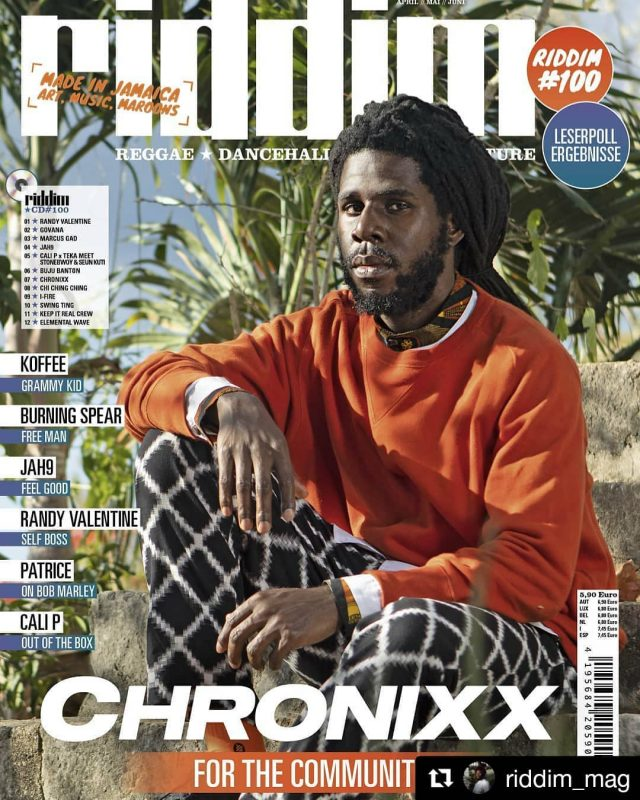#Repost @riddim_mag ・・・ #Riddim100 #FullHundred #MadeInJamaica .  @chronixxmusic graces the cover of the 100th issue of riddim Mag.  #ForTheCommunity .  Subscribers will get it this weekend. #100 will be in stores March 12. You can order it now at www.riddim.de. Link in bio. . 📷 by @will_i_amr 🎨 by @jonathamoritz . #RiddimMagazin #RiddimMag #Reggae #Dancehall #Tunes #culture