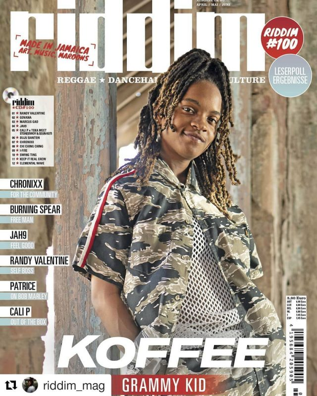 #Repost @riddim_mag ・・・ #Riddim100 #FullHundred #MadeInJamaica .  @originalkoffee graces the cover of the 100th issue of riddim Mag. #GrammyKid .  Subscribers will get it this weekend. #100 will be in stores March 12. You can order it now at www.riddim.de. Link in bio. . 📷 by @will_i_amr 🎨 by @jonathamoritz .  #RiddimMagazin #RiddimMag #Reggae #Dancehall #Tunes #culture #koffee